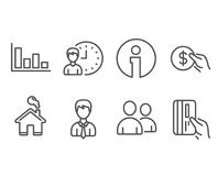 Working hours, Histogram and Payment icons. Businessman, Users and Payment card signs. Set of Working hours, Histogram and Payment icons. Businessman, Users and Stock Photo