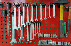 Set of the working tool at the stand Stock Image