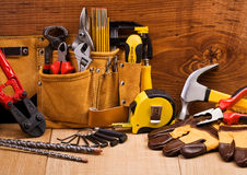 Set of working tools. Big set of the working tools on hardwood boards Royalty Free Stock Photos