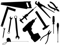 Set of working tools. For work and constructions in a vector Royalty Free Stock Photography