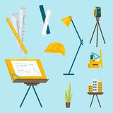 A set of working tools for the architect to work vector illustration
