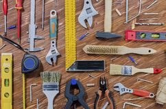 A set of working tools for doing household chores stock photos