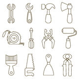 Set of working tools icons Stock Image