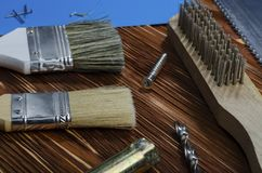 A set of working tools for doing household chores stock image