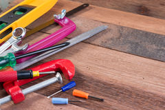 Set of working tools on wooden background. Wood working tools background concepts with copyspace. Stock Photo