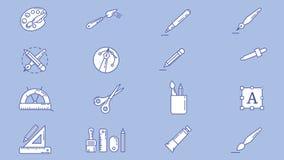 Designer and Illustrator Workplace Icon Set