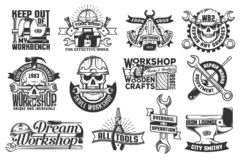 Print. Set of workshop and crafts emblems with tools and skulls stock illustration