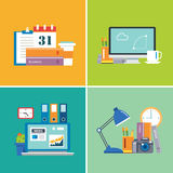 Set of workspace.designer,business,student Stock Photo