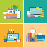 Set of workspace.designer,business,student Royalty Free Stock Photo