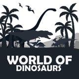 Set World of dinosaurs. Prehistoric world. T-rex, Diplodocus, Velociraptor, Parasaurolophus, Stegosaurus, Triceratops. Cretaceous Royalty Free Stock Image