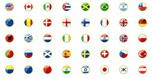 Set of world flags. In retro ribbons look Stock Images