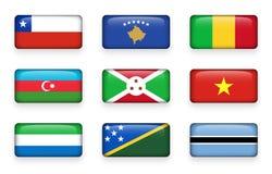 Set of world flags rectangle buttons Chile . Kosovo . Mali . Azerbaijan . Burundi . Vietnam . Sierra Leone . Solomon Islands . B vector illustration