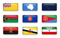 Set of world flags rectangle buttons  Niue . Antarctica . Alaska . Vanuatu . ASEAN . Eritrea . Angola . Brunei Darussalam . Somal Stock Photography