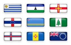Set of world flags rectangle buttons  Uruguay . Lesotho . Guernsey . Netherlands Antilles . Aruba . Norfolk Island . Faroe Island Royalty Free Stock Images
