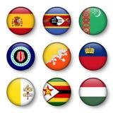 Set of world flags round badges Stock Photos