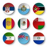 Set of world flags round badges.  Royalty Free Stock Photography