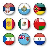 Set of world flags round badges.  Stock Image