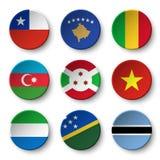 Set of world flags round badges  Chile . Kosovo . Mali . Azerbaijan . Burundi . Vietnam . Sierra Leone . Solomon Islands . Botswa Stock Photo