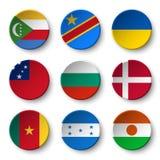 Set of world flags round badges  Comoros . Democratic Republic of the Congo . Ukraine . Samoa , Bulgaria . Denmark . Cameroon . H Stock Images