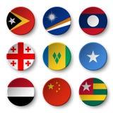 Set of world flags round badges  East Timor . Marshall Islands . Laos . Georgia . Saint Vincent and the Grenadines . Somalia . Ye Royalty Free Stock Image