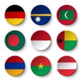 Set of world flags round badges  Germany . Nauru . Maldives . Bangladesh . Indonesia . Guinea-Bissau . Armenia . Burkina Faso . A Stock Images