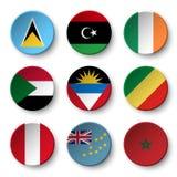 Set of world flags round badges  Saint Lucia . Libya . ireland . Sudan . Antigua and Barbuda . Republic of the Congo . Peru . Tuv Stock Photo