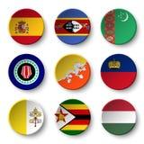 Set of world flags round badges Royalty Free Stock Photo