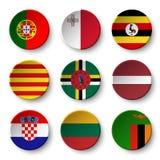 Set of world flags round badges Royalty Free Stock Image