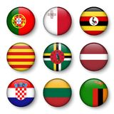 Set of world flags round badges Stock Image