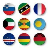 Set of world flags round badges  Slovenia . Saint Kitts and Nevis . France . Kuwait . Grenada . Palau . Cape Verde . Mauritius . Royalty Free Stock Image