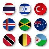 Set of world flags round badges  Thailand . Israel . Turkey . Iceland . Jamaica , australia , Trinidad and tobago . Belgium . Dji. Bouti Stock Images