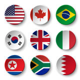 Set of world flags round badges  USA . Canada . Brazil . South korea . United kingdom of great britain . Italy . North korea .. South africa . Bahrain Stock Photos