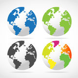Set of World Globe Maps Royalty Free Stock Photography