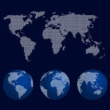 Set of world globes in dot pattern with the map of the world Stock Images