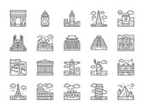 Set of World Landmark Line Icons. Egypt, Italy, United Kingdom, France and more. vector illustration