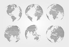 Set of world map . Dotted style . Vector.  royalty free illustration