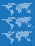 Set of world map outlines on a blue background Royalty Free Stock Images