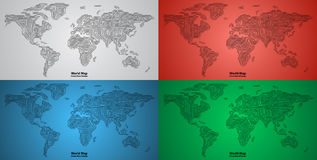 Set of World Map PCB design. Set of World Maps circuit board design Stock Photo