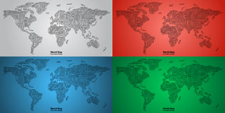 Set of World Map PCB design. Set of World Maps circuit board design Royalty Free Stock Photo