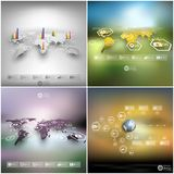Set of world maps in perspective, blurred Stock Images