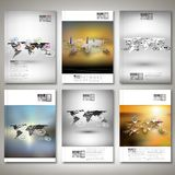Set of world maps in perspective, blurred Royalty Free Stock Images