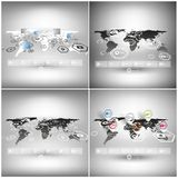 Set of world maps in perspective, infographic Stock Photo