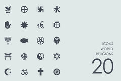 Set of world religions icons. World religions vector set of modern simple icons Royalty Free Stock Photography