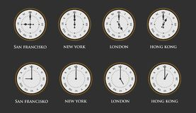 Set of world time zone clock with roman numerals. Vector illustration Royalty Free Stock Images