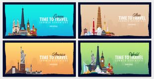 Set of World travel banners. Time to Travel. Journey, trip and vacation. Vector flat illustration. Set of World travel banners. Time to Travel. Journey, trip Royalty Free Stock Image