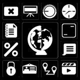 Set of Worldwide, Video player, Placeholders, Id card, Locked, N. Set Of 13 simple editable icons such as Worldwide, Video player, Placeholders, Id card, Locked royalty free illustration