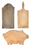 Set of worn chopping boards Stock Image