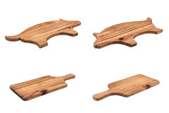 Set of worn chopping boards made of wood. Royalty Free Stock Photo