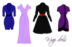 Set of wrap dresses. A set of four different wrap dresses royalty free illustration
