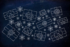 Set of wrapped up Christmas presents and snowflakes Royalty Free Stock Photos